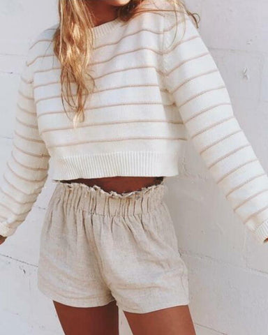 Striped Long Sleeve Cropped Knitted Sweater