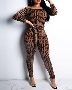 Abstract Patterns Printing Long Sleeve Lace-up Waist Jumpsuit