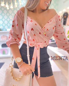 Heart Print Surplice Long Sleeve Knotted Top