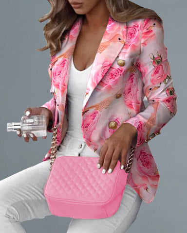 Double Breasted Floral Birds Print Blazer Coat
