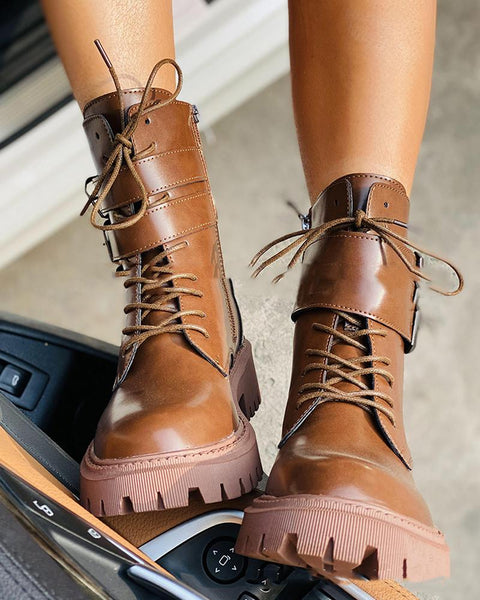 Solid Double Buckle Lace-up Biker Boots