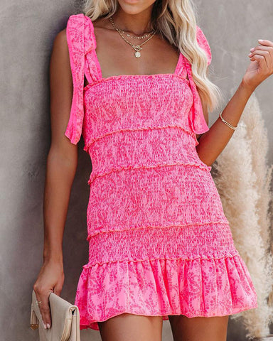 Tiered Ruffle Ruched Cami Dress