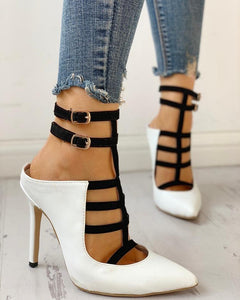 Pointed Toe Contrast Color Caged Thin Heels