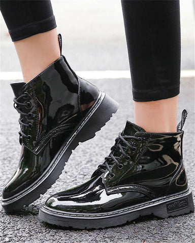 Polished Lace-Up Ankle Boots