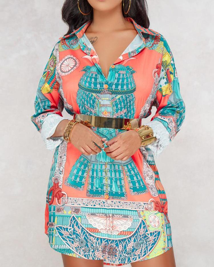 Vintage Mixed Print Button Loose Shirt Dress