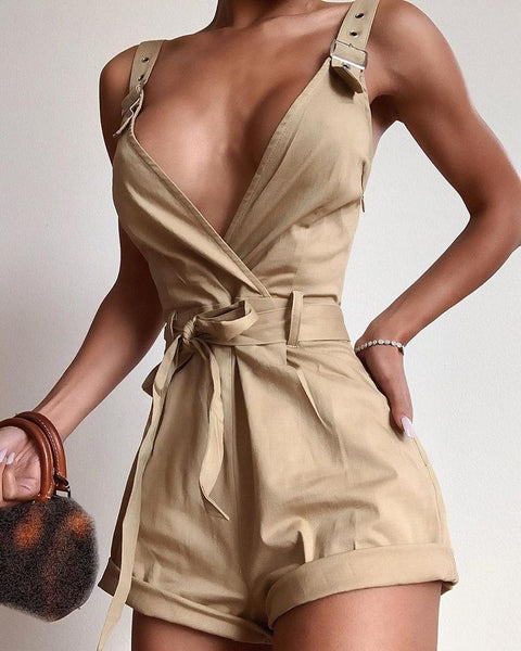Solid Thin Strap Deep V-neck Romper