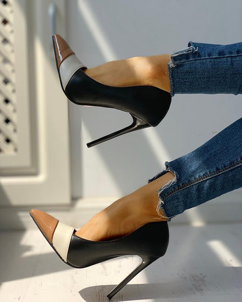 Pointed Toe Colorblock Insert Thin Heels