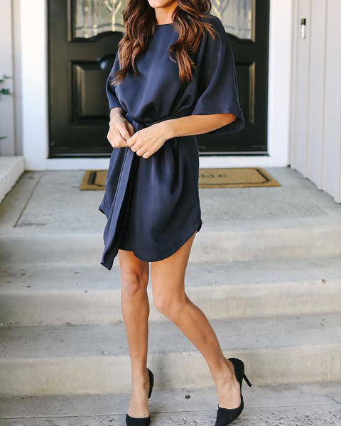 Tied Waist Wrapped Loose Casual Dress