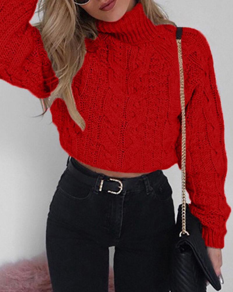 High Neck Rib Knitted Sweater