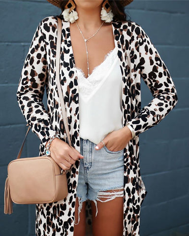Long Sleeve Leopard Print Cardigans