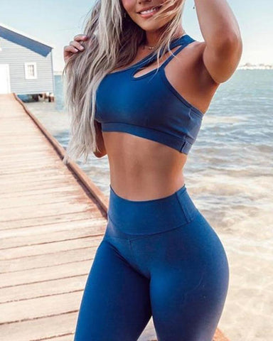 One Shoulder Crop Top & Leggings Set