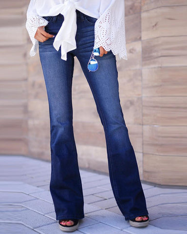 High Waist Solid Casual Bell Bottom Jeans