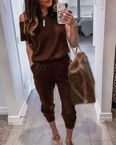 Solid Color Short Sleeve Jumpsuit With Pockets