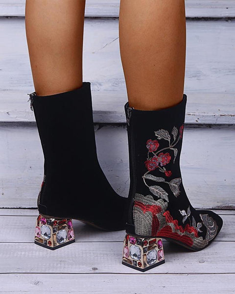 Flower Embroidery Crystal Heel High Top Boots