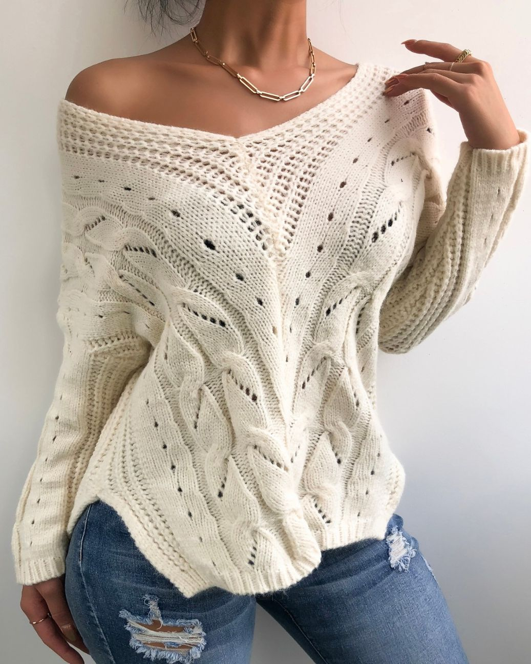 Hollow Out Long Sleeve Cable Knit Sweater