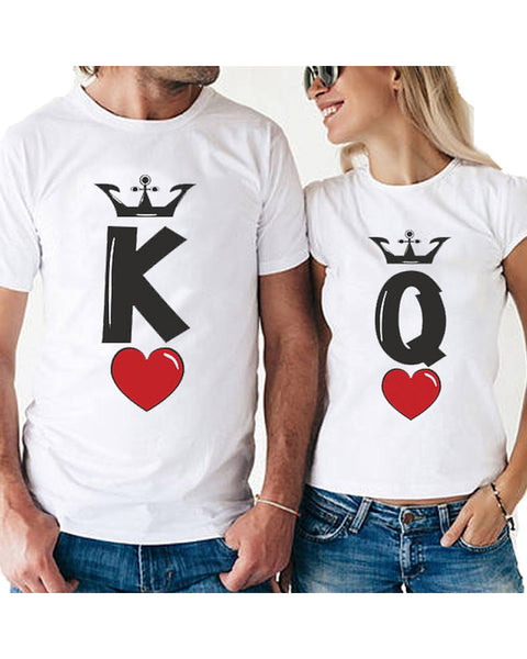K & Q Print Short Sleeve Loose Couple T-shirts