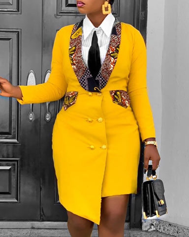 Colorblock Button Design Long Sleeve Blazer Dress
