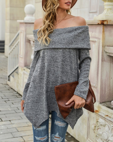 Off Shoulder Long Sleeve Asymmetrical Sweater