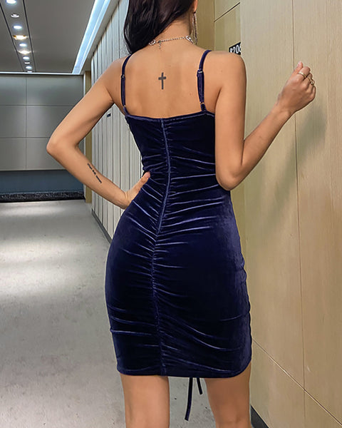 Plain Spaghetti Strap Drawstring Bodycon Dress
