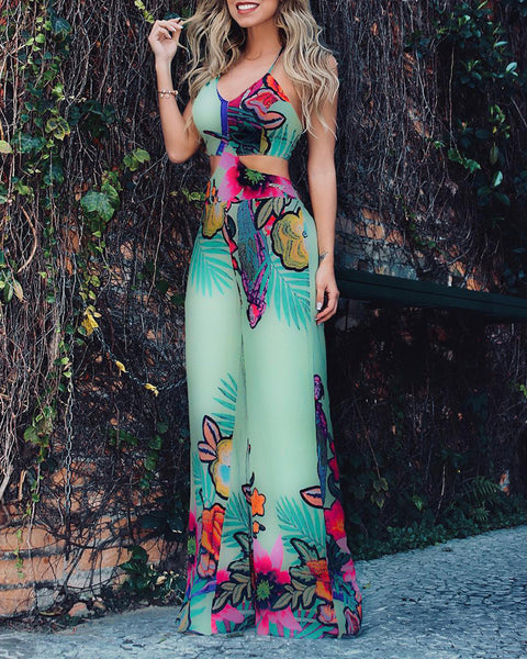 Floral Print V Neck Spaghetti Strap Top & Pants Set