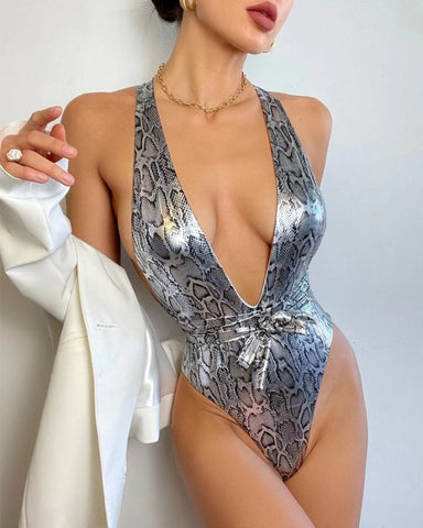 Snakeskin Glitter Sleevceless Skinny One-piece Swimwear