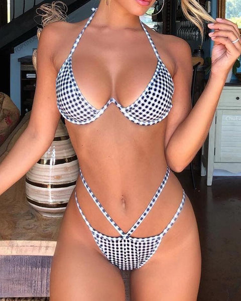 Gingham Print Halter Cut Out Bikini Sets