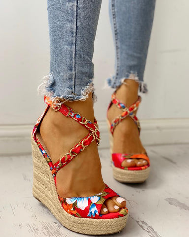 Floral Chain Detail Platform Wedge Sandals