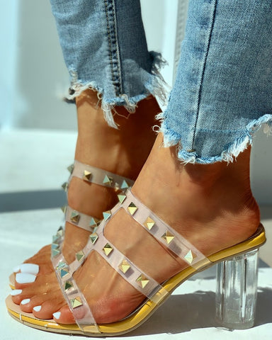 Transparent Strap Rivet Heeled Sandals