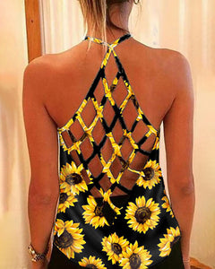 Sunflower Halter Backless Casual Tank Top