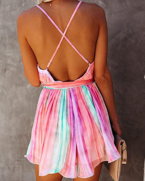 Rainbow Color Cami Mini Dress