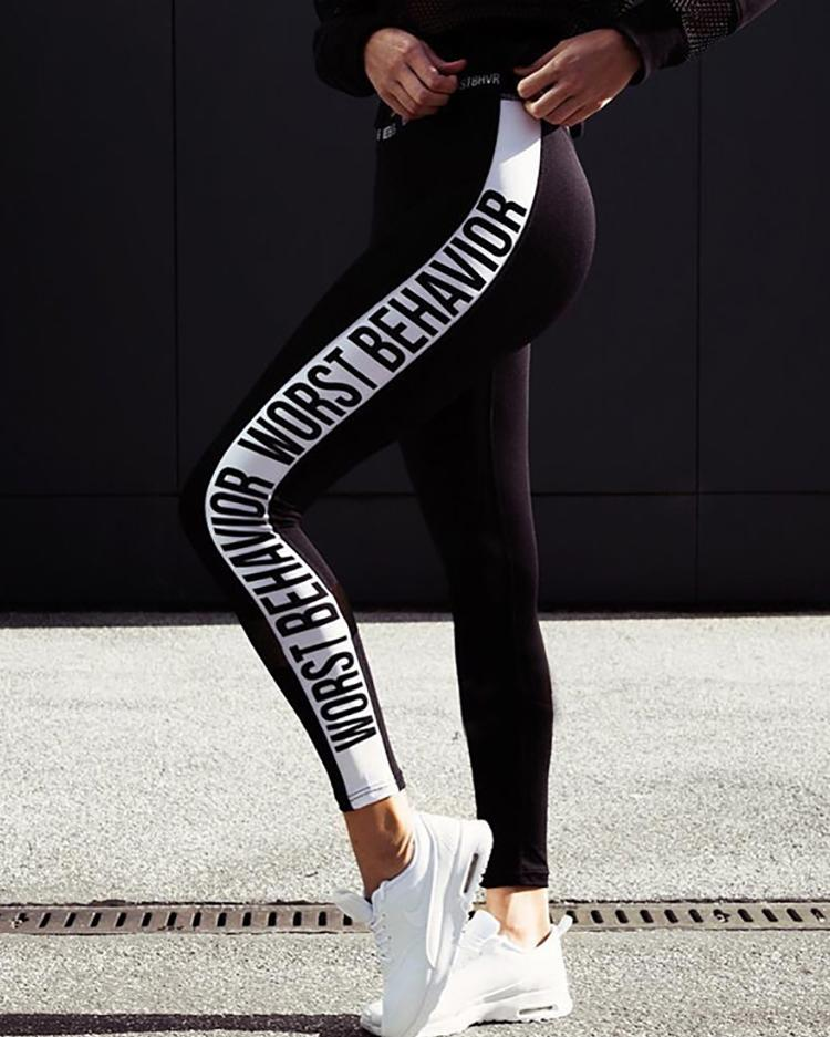 Letter Print Panel Sports Leggings