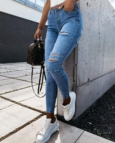 Solid High Waist Skinny Slim Denim Pants