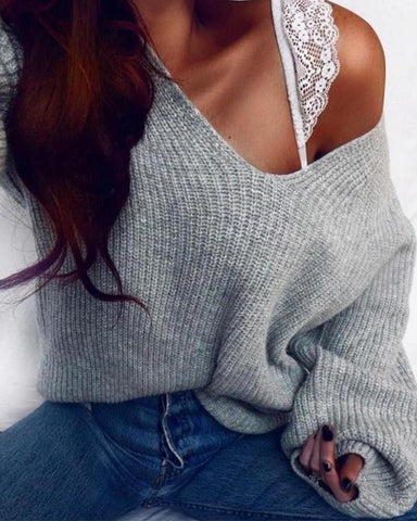 V Neck Ribbed Knit Sweater