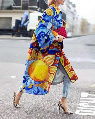 Mliticolor Cartoon Print Bell Sleeve Loose Trench Coats