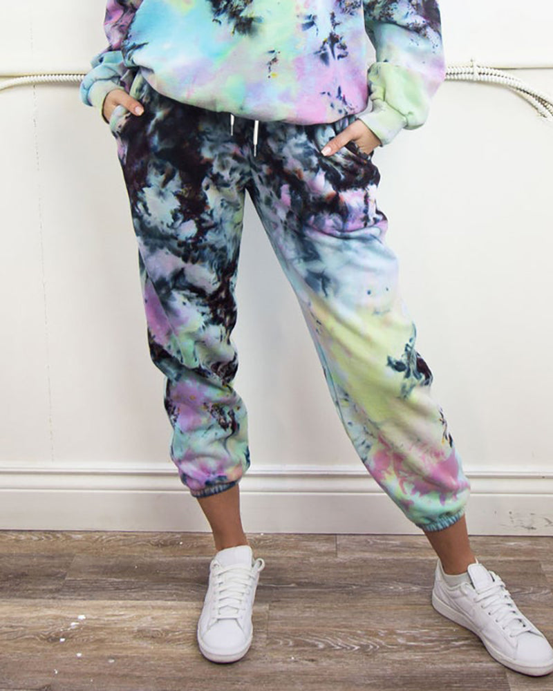 Tie Dye Print Drawstring Pockets Pants