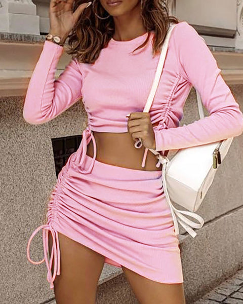 Plain Drawstring Long Sleeve Crop Top & Ruched Skirt Set