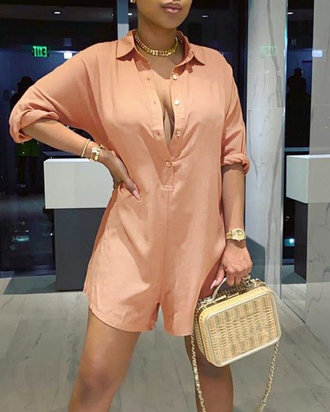 Solid Color Long Sleeve Loose Romper