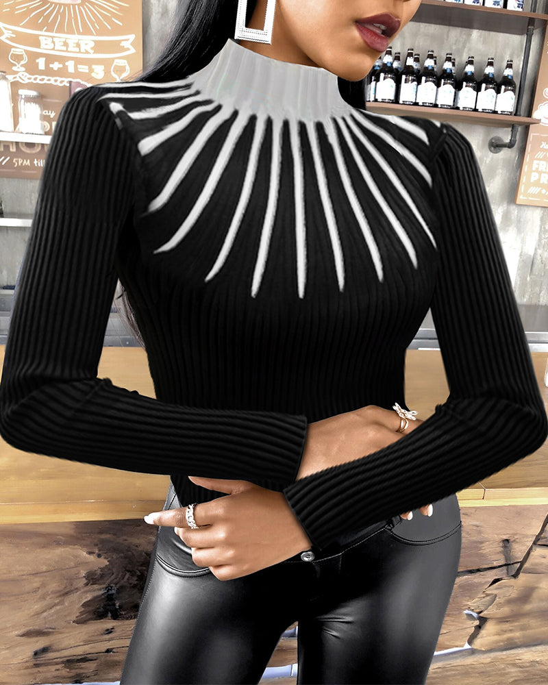 Colorblock Long Sleeve Meck Neck Knit Top