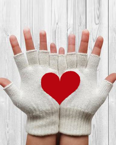 Heart Print Thermal Half-finger Gloves
