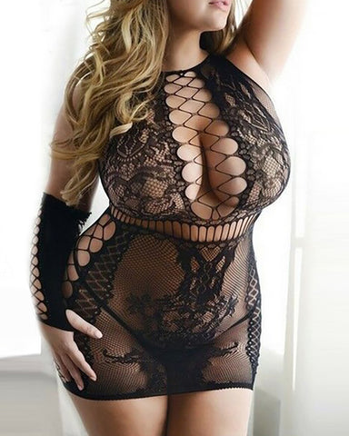 Guipure Lace Cutout Babydoll With Gloves