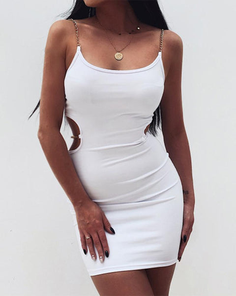 Solid Color Hollow-out Spaghetti Strap Skinny Mini Dress