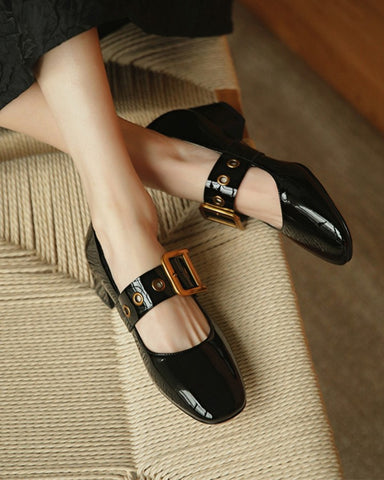 Round-toe Solid Color Splicing Buckle Jenny Shoes