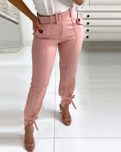 Knotted Pocket Design Casual Pants