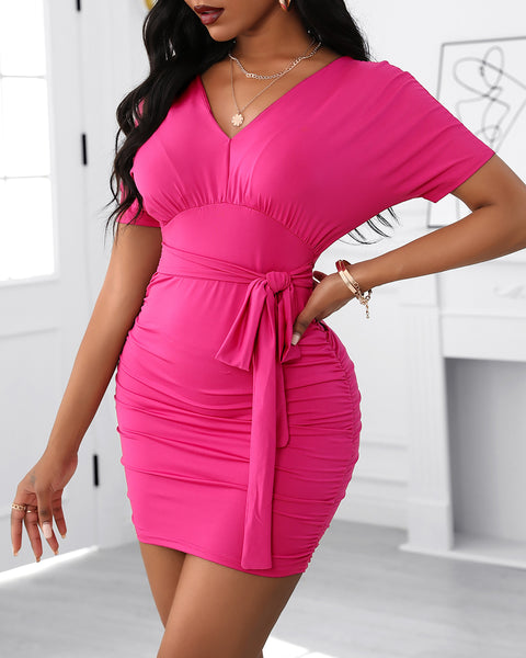 Short Sleeve Tied Detail Bodycon Dress