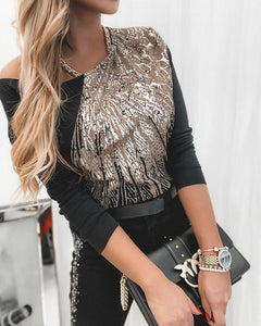 Glitter Patchwork Long Sleeve Blouse