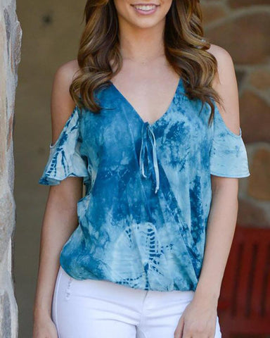 V-Neck Tie Dyeing Blue T-Shirt