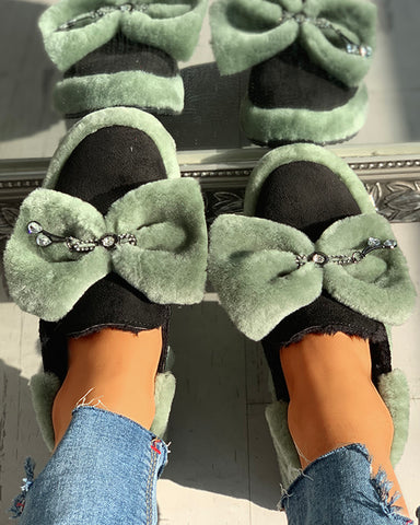 Suede Fluffy Bowknot Detail Flat Shoes