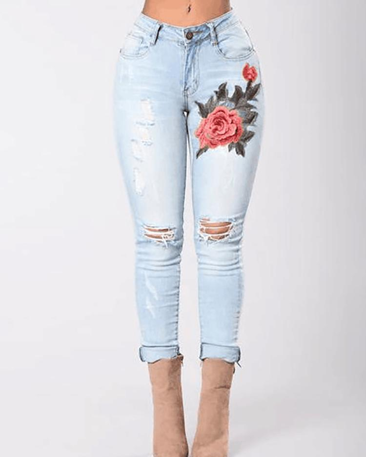 Embroidered Knee Holes Skinny Jeans