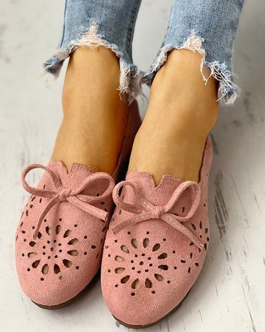 Bowknot Hollow Out Casual Flat Shoes