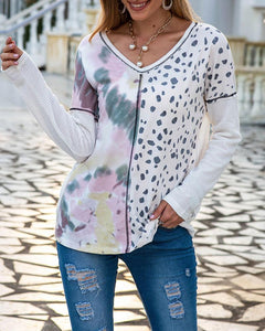 Leopard Tie Dye Splicing Long Sleeve Loose Sweatshirts
